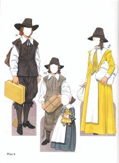 American Pilgrim Family free paper dolls The International Paper Doll Society from Arielle Gabriel