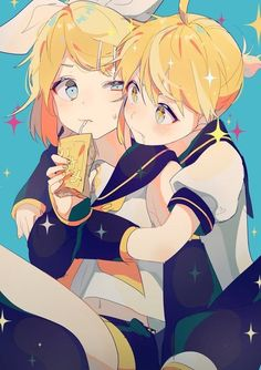 Cute Rin and Len LoL: Len must really loves to drink Rin's banana milk