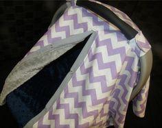 Carseat Canopy Minky Lavender Chevron by BabyBundlesandBows, $42.99