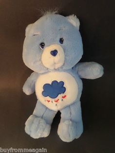 "Care Bear Blue Grumpy Rain Cloud Hearts Plush Stuffed 2002 13"""