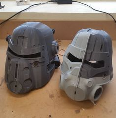 A quick post to show the calm before the storm of sanding and filling for both T45 and T51 helmets.  The models for both of these builds can be found on @myminifactory. #Fallout4 #fallout #wip #cosplay #replica #prop #gamestagram #gamer #3dprint #3dprintable #3dprinting #3dprinted by lilykill1