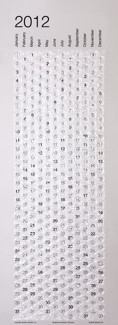 Bubblewrap Calendar - Could also work for To Do or Goals list if you map numbers to your tasks/goals. Or use extra large bubble wrap for more space and to really get a satisfactory pop after completing your items :)))