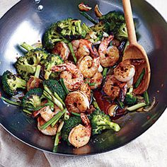 Shrimp and Broccoli Stir-Fry | MyRecipes.com - cooking light recipe.  This was very good and really easy and fast to make. I served it with basmati rice.