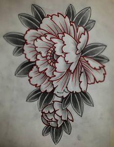 Эскиз татуировки с пионом