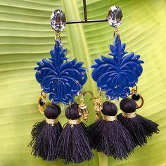 Earrings Rococo blue night