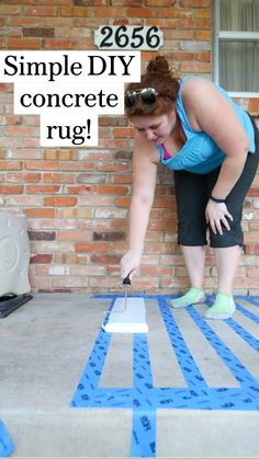 Painted Rug, Painted Floors, Outdoor Projects, Home Projects, Ceramica Exterior, Patio Makeover, Front Porch Makeover, Patio Furniture Makeover, Door Makeover