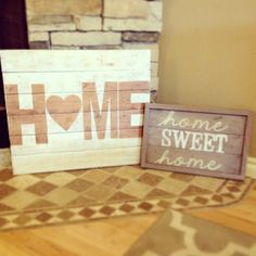 "Large 20"" x 24"" Home sign $40.  Home sweet home sign $25.  Fully customizable! www.facebook.com/simplysawyer"