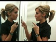 How to bump-up your ponytail w/out teasing or using a Bumpit. Finally! Get this girl a Nobel Peace Prize...shes my hero.