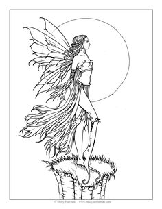 Fearless Fairy Free Coloring Page by Molly Harrison Fantasy Art