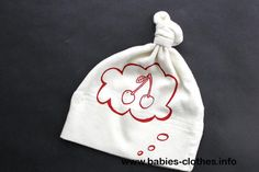 Baby hat, organic cotton, cherries, baby thought, knotted beanie - http://www.babies-clothes.info/baby-hat-organic-cotton-cherries-baby-thought-knotted-beanie.html