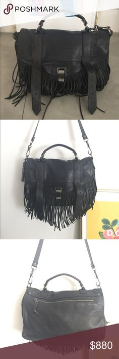 Proenza schouler lambskin crossbody bag Black lambskin leather, fringe detail, excellent condition Proenza Schouler Bags Crossbody Bags