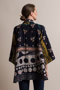 $660.00 | Mieko Mintz 2-Layer Border Patch Kimono Jacket in Navy/Pink | Mieko Mintz creates clothing from vintage saris, which are upcycled into new fashion. The reversible clothing is an artful multi-pattern combination of by Mieko that is then made into kantha fabric. Sold online and in-store at Santa Fe Dry Goods in Santa Fe, New Mexico.