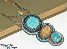 Bead Embroidery Artists   Bead Embroidery Necklace Turquoise and by DesignsByDawnMD on Etsy