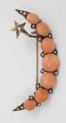 Antique Victorian 12K Yellow Gold, Coral & Pearl Crescent Moon & Star Brooch