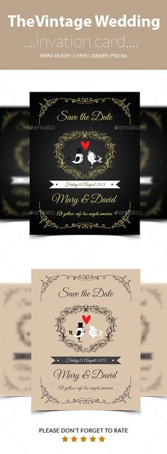 Vintage wedding inviation card - Wedding Card Invitation Template PSD. Download here: http://graphicriver.net/item/vintage-wedding-inviation-card/11853039?s_rank=73&ref=yinkira