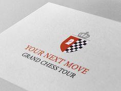Logo voor #YourNextMove #GrandChessTour Een schaaktornooi in #Leuven waarbij de 10 beste schaakspelers ter wereld het tegen mekaar opnemen.