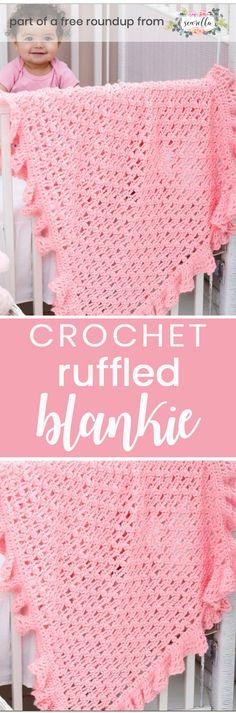 Crochet this easy beginner one ball ruffled baby blanket from Red Heart Yarn from my best free crochet baby blankets for girls roundup!
