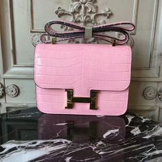 Classic Hermes 23cm Constance Bag in Pink Croc-embossed Leather Hermes  Constance Bag 08516e2a323ff