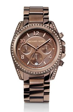 Michael Kors 'Blair' chronograph watch in espresso, with rose gold and Swarovski crystal accents. I *do* wear it. A very special Christmas gift.