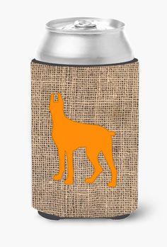 Great Dane Burlap and Orange Can or Bottle Beverage Insulator Hugger