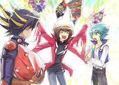 Yugioh - Yusei, Jaden and Jesse. Lol, I love Jesse's face