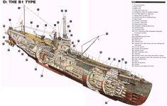 Japanese I-400 Sen Toku Class submarine cutaway detail