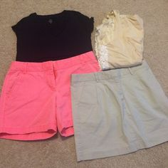 Preppy clothing deal!! Look preppy without paying full price! 1 j. Crew navy Vneck size xs. 1 jcrew cream blouse with white sequins size medium. 1 pink chino shorts by j. Crew size 2. 1 khaki vineyard vines skirt(has tiny marker dot) size 4. Make an offer!! Vineyard Vines Other