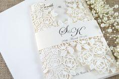 Invitaciones de boda del corte del laser, corte del Laser marfil invitación de la boda, invitación de la boda hermosa