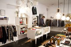 Retail design: Design House Stockholm's Work Lamp at the Haberdash store, Södermalm district in Stockholm. Interior & lamp design by Form Us With Love.