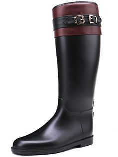 TONGPU Tall Knee-high PU Leather Wrap Rain Boot Our company is specialized in Rain boots,our shoes exported to countries all over the world. Product Features Well packaged With zipper closure, so i… Rain And Snow Boots, Rubber Rain Boots, Riding Boots, Women's Boots, Black Belt, Pu Leather, Burgundy, Stuff To Buy, Wine