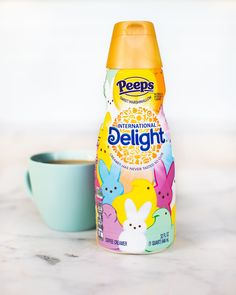 International Delight just dropped a new coffee creamer featuring the springiest candy out there: PEEPS! Peeps Candy, French Vanilla Creamer, Coffee Area, Drinking Black Coffee, Marshmallow Peeps, Simple Furniture, Chocolate Caramels, Coffee Creamer, Happy Easter
