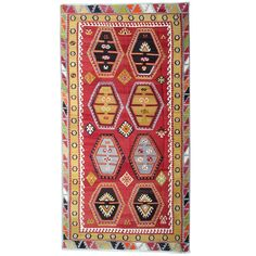 For Sale on - The Şarkışla Kilim rugs are one of the most decorative rugs, Turkish Kilim can be an additional element of design to one's home decor. Most Kilims can Rugs On Carpet, Carpets, Geometric Rug, Elements Of Design, Red Rugs, Turkish Kilim Rugs, Hand Knotted Rugs, Art And Architecture, Bohemian Rug