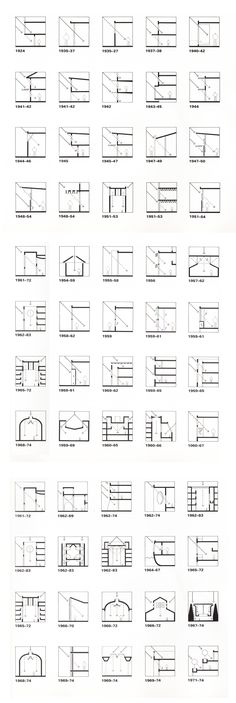 "Louis Kahn (from ""Licht und Raum- light and space"", Urs Büttiker) The chronological listing of projects traces Kahn's development process in light control and modulation. Light Architecture, Architecture Drawings, Concept Architecture, Architecture Details, Landscape Architecture, Library Architecture, Classical Architecture, Architecture Diagrams, Architecture Portfolio"