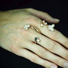 """""""Butterfly Bouquet"""" 18K Rose Gold Diamond Two Finger Ring - Plukka - Shop Fine Jewelry Online"""