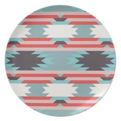 Aztec Tribal Pattern Native American Red Blue Dinner Plate