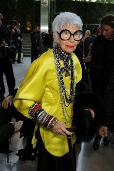 Here she is looking amazing in this yellow leather button-up and bejeweled choker. | Community Post: 17 Photos That Prove This 91-Year-Old Woman Dresses Better Than You
