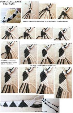 Macramé - Arte de hacer nudos: Pulsera _Ying Yang