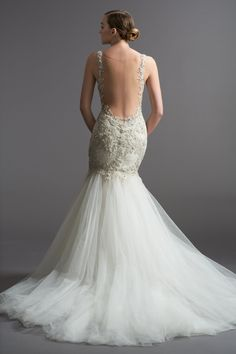 Watters Brides Viena Gown - Illusion Netting/Hertiage Lace With Metallic Beaded Appliques/Tulle Low Back Wedding Gowns, Wedding Dress Sizes, Mod Wedding, Wedding Bridesmaid Dresses, Bridal Wedding Dresses, Dream Wedding Dresses, Wedding Ideas, Bridal Style, Backless Wedding