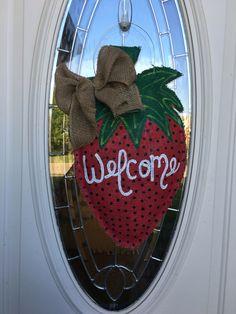 strawberry burlap door hanger decoration and wreath replacement