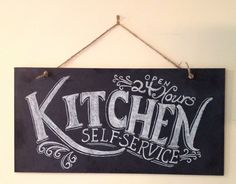 Kitchen Chalkboard Sign - Kitchen Wall Art - Typography Art- Chalkboard Art- Unique Housewarming Gift. $79.00, via Etsy.  neat over stove