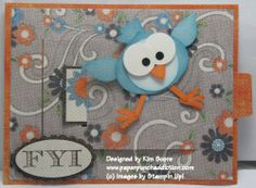 "Cute bird made using Ornament punch, 1 1/4"" Circle punch, Boho Blossoms  - punch 2 of the smallest flower and 1 of the largest flower, Heart of Hearts, 2 Step Bird Punch, 3/4"" Circle and crop-a-dile."