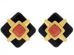 Cartier Aldo Cipullo Onyx and Coral Earrings in 18K - Beladora Jewelry