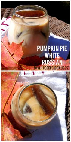 Pumpkin Pie White Russian with coffee ice cubes!
