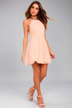 dd2c1b67c6a Letter of Love Blush Pink Backless Skater Dress Pink Bridesmaid Dresses