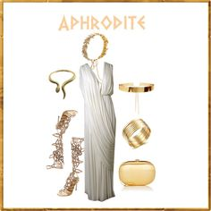 Aphrodite - Which Character Are You Dressing Up As This Halloween? by b-whalley on Polyvore featuring René Caovilla, Jeffrey Levinson and Jennifer Behr
