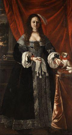 Pier Francesco Cittadini Milanese ( Italian ,1616-1681). Porträt einer adeligen Damemit Hündchen