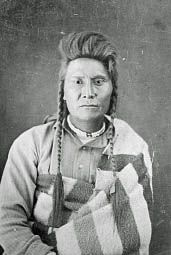 Chief Joseph, taken by John H. Fouch on October 23, three weeks following the surrender. (Cropped/Photoshopped) --- The Nez Percé had carried out an epic fighting retreat for 1,170 miles across parts of 4 states only to be halted 40 miles from safety in Canada. Joseph had impressed the entire nation with his campaign. Howard and Miles praised the Nez Percé and even General Sherman praised them for their fighting ability and the relative lack of atrocities they committed. (Wikipedia)
