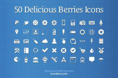 50 Delicious Berries Icons | Creative Market ~ Handcrafted, mousemade.