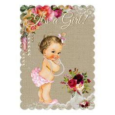 Burlap Lace Mason Jar Baby Shower Invitations