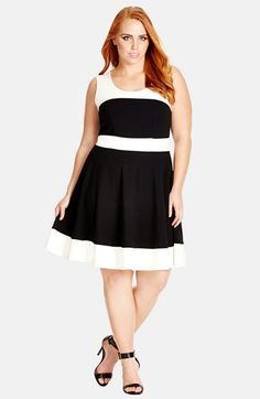 City Chic Colorblock Skater Dress (Plus Size) available at #Nordstrom